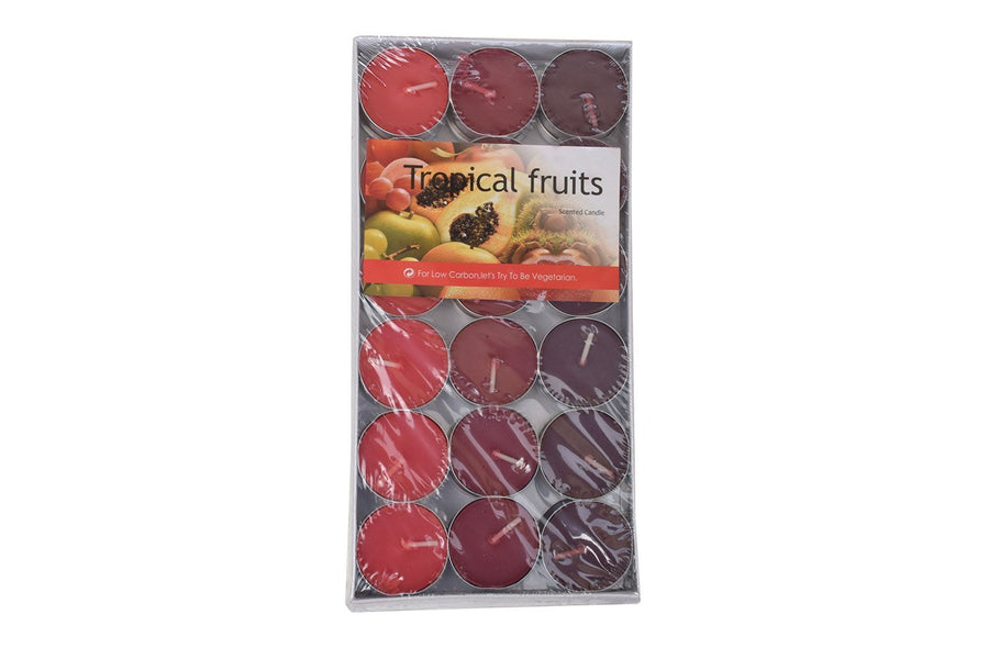 Nuvokart Set of 36 Pieces Scented Smokeless Tea Light T-Light Candles Tropical Fruits Fragnance Candle- Scented Multicolor Candle Festive Decor Diwali Candle- Low Carbon Candle