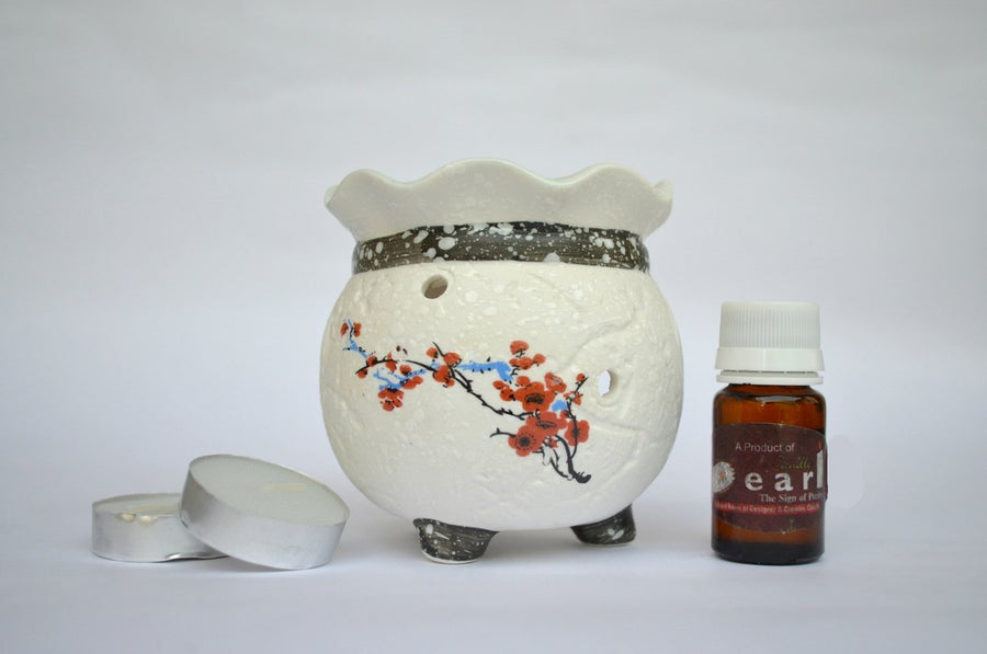 Fine Bone-China Oil Burner Aroma Diffuser Set - Choice of 7 Fragrances