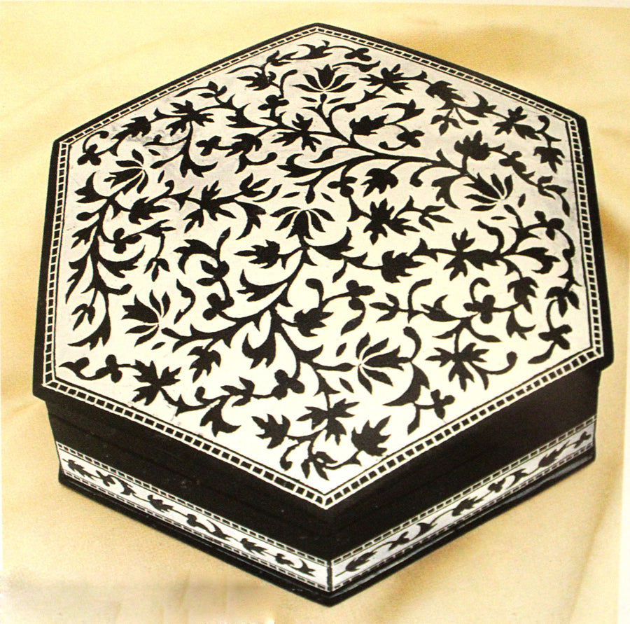 Hexagonal box-mehtabi work