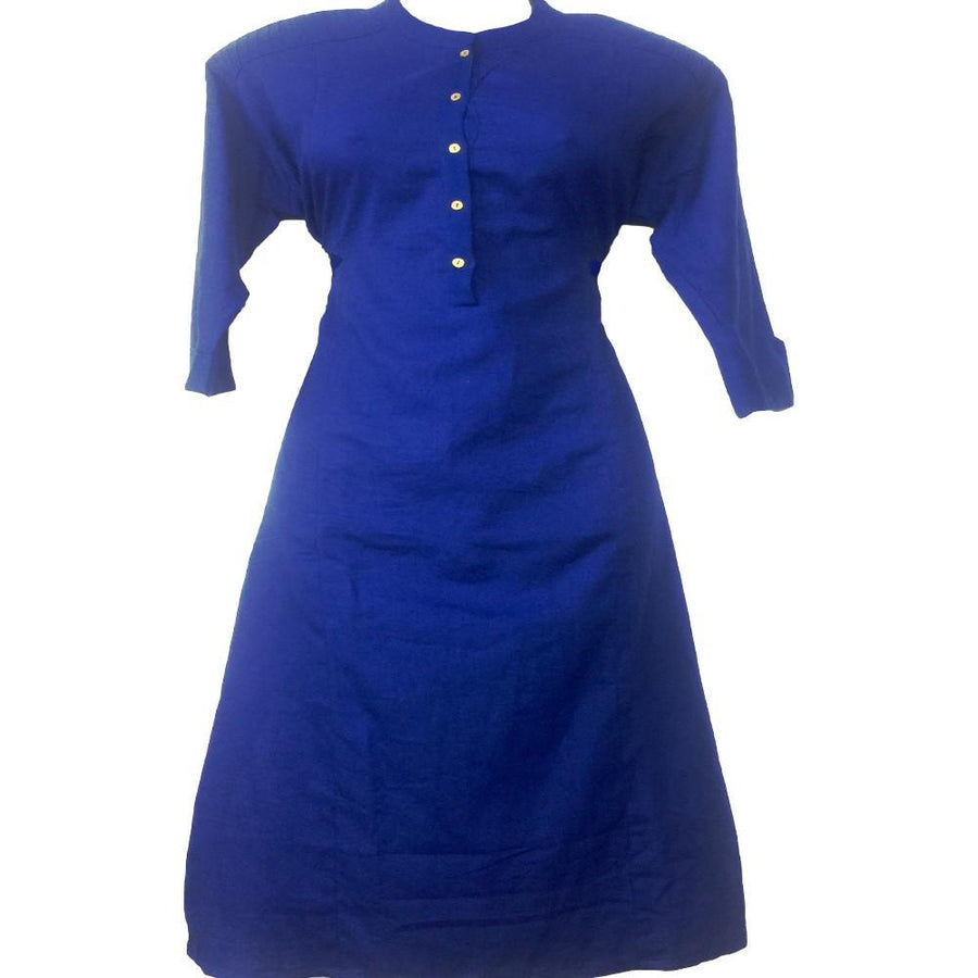 Royal Blue Cotton Long Kurti