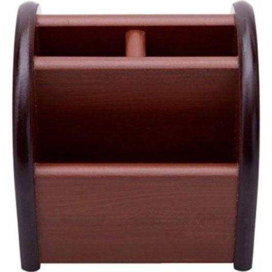 Desi Karigar 3 Compartments Wooden Mobile Cum Pen Holder