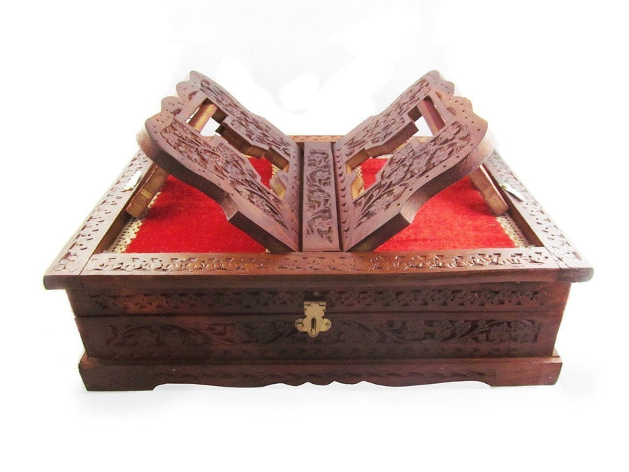 Desi Karigar Beautifully hand carved foldable holy book stand and box