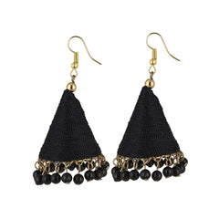 E-streetshop Creation Designer Black Thread Jhumki Earrings for Women and Girls
