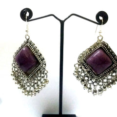 E-streetshop Creation Afghani Alloy Designer Silver Colour jhumka with purple color stone for Women and Girls