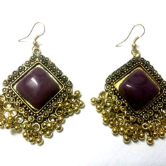 E-streetshop Creation Afghani Alloy Designer Gold Colour jhumka with purple color stone for Women and Girls