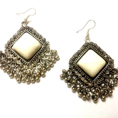 E-streetshop Creation Afghani Alloy Designer Silver Colour jhumka with white color stone for Women and Girls