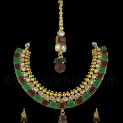 RED GREEN POLKI STONES NECKLACE SET WITH MAANG TIKA