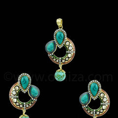 TURQUOISE BLUE ANTIQUE VICTORIAN PENDANT SET
