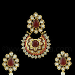 RUBY RED TRADITIONAL RAJWADI PENDANT SET