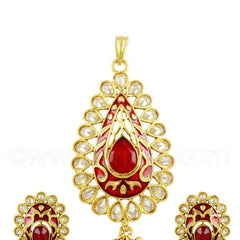 RUBY RED POLKI STONES PENDANT SET