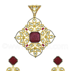 RUBY RED VILANDI KUNDAN PENDANT SET