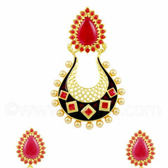 RUBY RED MEENAKARI PENDANT SET