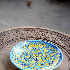 Blue Pottery Terquoise Floral Plate