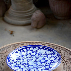 Blue Pottery Floral Plate
