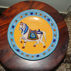Blue Pottery Royal Horse Plate