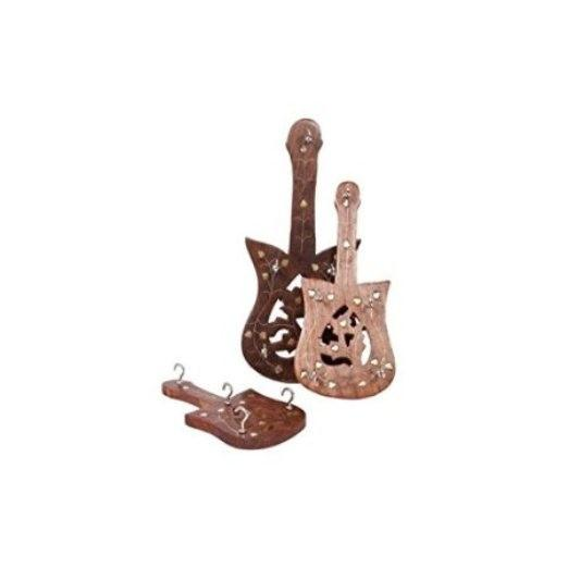Desi Karigar Wooden Guitar Key Holder Set Of 3 Pieces