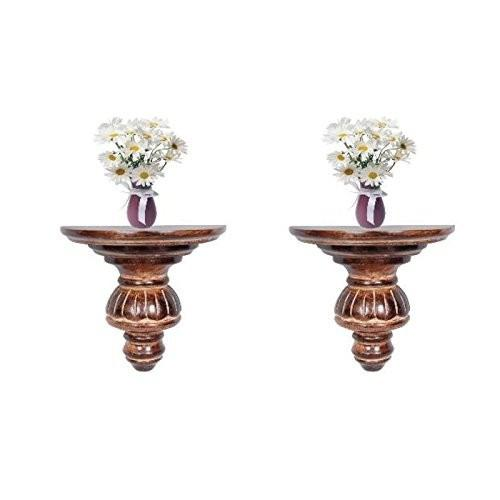Desi Karigar Home Decor Premium Solid Wood Shelf Rack Wall Bracket Rack Set of 2
