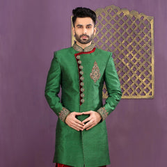Mens Indo Western Wedding Green Designer Partywear Traditional