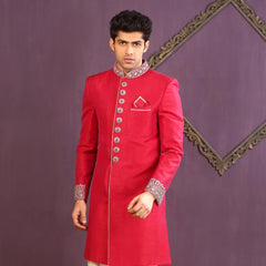 Mens Indo Western Wedding Fuchiya Designer Partywear Traditional