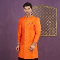 Mens Indo Western Wedding Rust Orange Designer Partywear Traditional