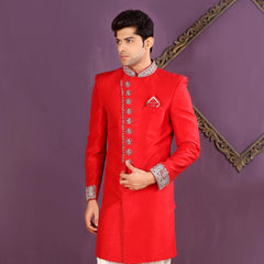 Mens Indo Western Wedding Red Designer Partywear Traditional