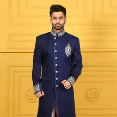 Mens Indo Western Wedding Blue Designer Partywear Traditional