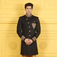 Mens Indo Western Wedding Black Designer Partywear Traditional