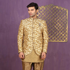 Mens Indo Western Wedding Fawn Designer Partywear Traditional