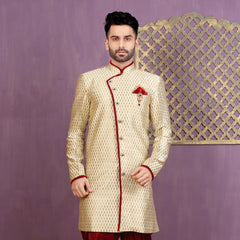 Mens Indo Western Wedding Beige Designer Partywear Traditional