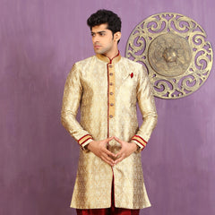 Mens Indo Western Wedding Beige/Gold Designer Partywear Traditional