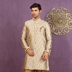 Mens Indo Western Wedding Golden Designer Partywear Traditional