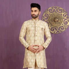 Mens Indo Western Wedding Off white/Fawn Designer Partywear Traditional