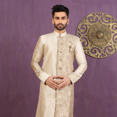 Mens Indo Western Wedding brown/cream Designer Partywear Traditional