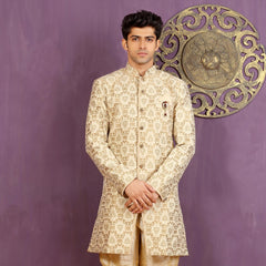 Mens Indo Western Wedding Cream/Gold Designer Partywear Traditional