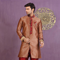 Mens Indo Western Wedding Golden/Maroon Designer Partywear Traditional