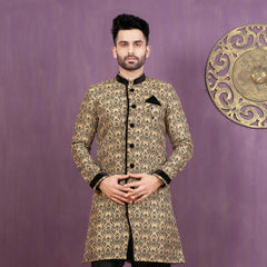 Mens Indo Western Wedding Black/Grey Designer Partywear Traditional