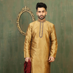 Mens Kurta Pajama Wedding Golden yellow Designer Partywear Traditional