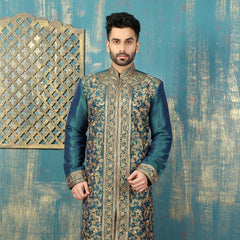 Mens Kurta Pajama Wedding Teal Green ( Cross Clr) Designer Partywear Traditional