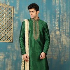 Mens Kurta Pajama Wedding Green Designer Partywear Traditional