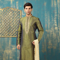 Mens Kurta Pajama Wedding MEHANDI GREEN(Cross Clr) Designer Partywear Traditional