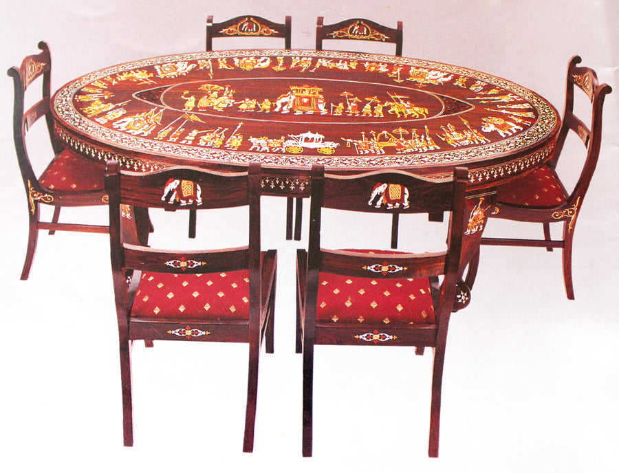 Round Revolving Dining Table With eight chairs