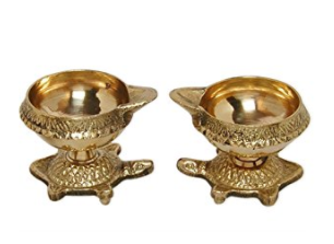 Divya Shakti Vastu Diya Kachhua Diya Kuber Deep Set Diwali Pooja Item - Deepawali Lighting Brass Oil Diya Diwali Decoration Pooja Item and Home Decor Item Festival Gift Item Set of 2