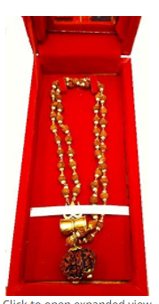 Divya Shakti Gaurishankar Rudraksha / Rudraksh mala in Golden Cap With Shiv Damru and Trishul in Beautiful Red Box ( Religious Gift )