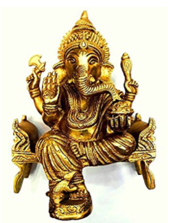 Divya Shakti Brass God Of Luck Lord Ganesha Sitting on Simhasan Idol IN 6 INCH ( Religious gift item )