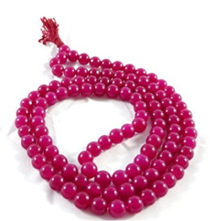 Divya Shakti Ruby Quartz Mala 9 MM 108 + 1 Beads ( Spiritual and Healing mala )
