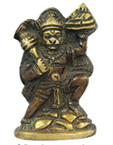 Divya Shakti Monkey God Hanuman - Handmade Brass Sculpture - Religious Figurine - 2.3 x 1.5 x 0.7 Inches ( Religious Item )