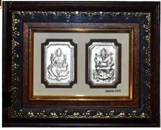 Divya Shakti 99.9% Silver Lakshmi Ganesh Photo Frame in 9 x 6 inches For Diwali Pooja , Dhanteras ( Gift and pooja item )