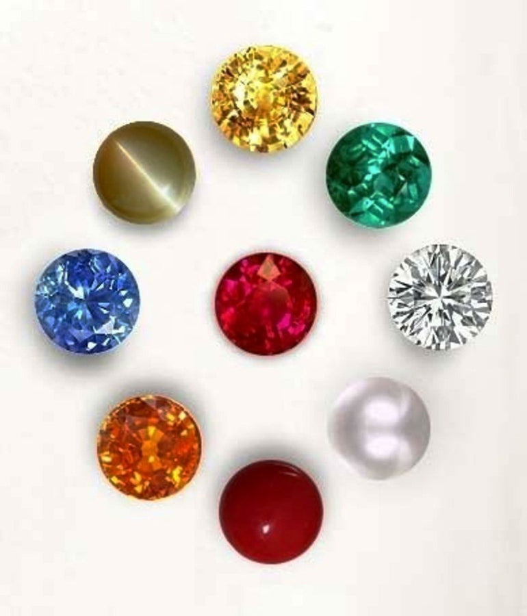 Divya Shakti Natural Navratna 3.90 mm 9 Gems For 9 Planets - AAA Quality ( Gemstones )