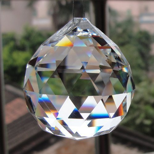Divya Shakti Clear Crystal Hanging Ball for Good luck & Prosperity ( 40 MM )