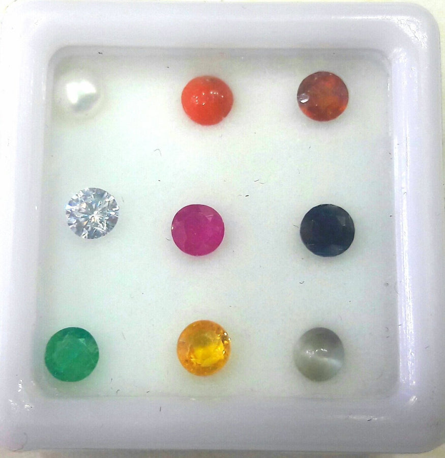 Divya Shakti Natural Navratna 2.30 mm 9 Gems For 9 Planets - AAA Quality ( Gemstones )